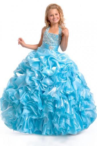 2013秋ボールガウンホルタービーズスパンコールフリルフラワーガールドレス女の子Pageantドレスポージェントドレス