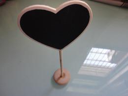 50pcs lot heartshaped wood white mini blackboard chalkboard stand wedding favor decoration place holder food label free shipping