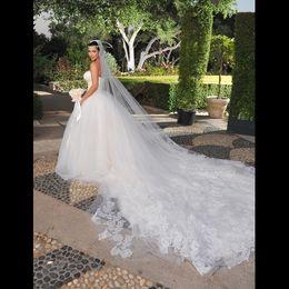 Wholesale Inspired Kim Kardashian - kim kardashian wedding Veil 3.5 meter long tulle with applique inspired bridal veil