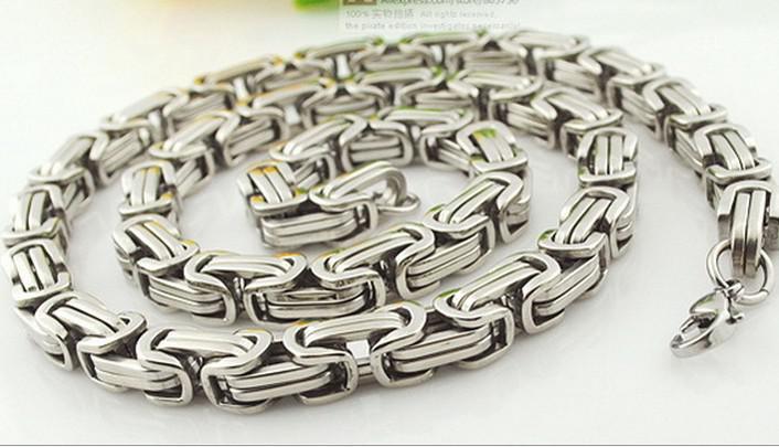 20 - 40 tum toppförsäljning 8mm breda silver byzantinskedja rostfritt stål smycken män halsband plocka längd bästa pris gratis skepp
