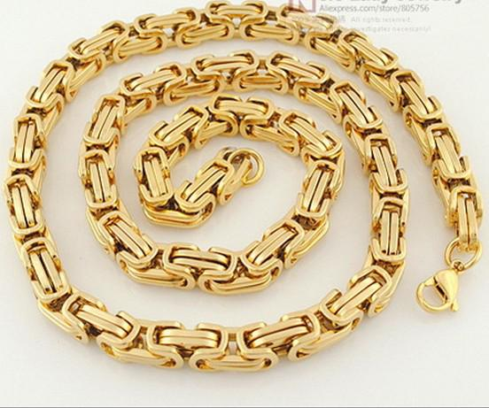 20''-40'' Fashion 18k gold plated necklace 8mm byzantine chain stainless steel Jewelry Men's necklace Pick lenght best price free ship