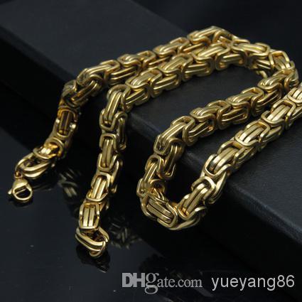 20 '' - 40 '' الأزياء 18 كيلو الذهب مطلي قلادة 8 ملليمتر البيزنطية سلسلة المقاوم للصدأ مجوهرات رجالية قلادة اختيار طول أفضل سعر السفينة مجانية