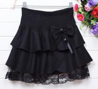 Wholesale Wool Baby Dress - Wholesale - cute girl winter wool fluffy cake skirt, black bow skirt girl baby girl dress Woolen Lace skirts black
