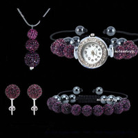 Wholesale Shamballa 925 Necklace Earrings - 4pcs set Cheap Gift Shamballa watch jewelry 925 Silver Snake Chain 3Pcs Sparkly Deep Purple Disco Ball Pendant necklace bracelet studs set