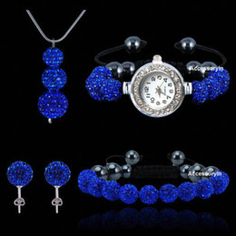 Wholesale Shamballa Beads Dark Blue - 4pcs set Blue Shamballa Crystal Beads Ball Pendant Necklace set Shiny Shambala Watch Bracelet stud earrings free shipping