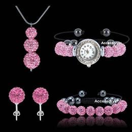 Wholesale Crystal Shamballa Necklace Earrings - 4pcs set Dazzling 925 Silver Jewelry Hot Pink Crystal Clay disco ball Watch shamballa necklace bracelet earrings set cheap gift
