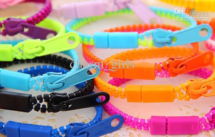 Gratis frakt 2013 Ny Zip Bracelet Wristband Candy Armband Populära dragkedja Armband