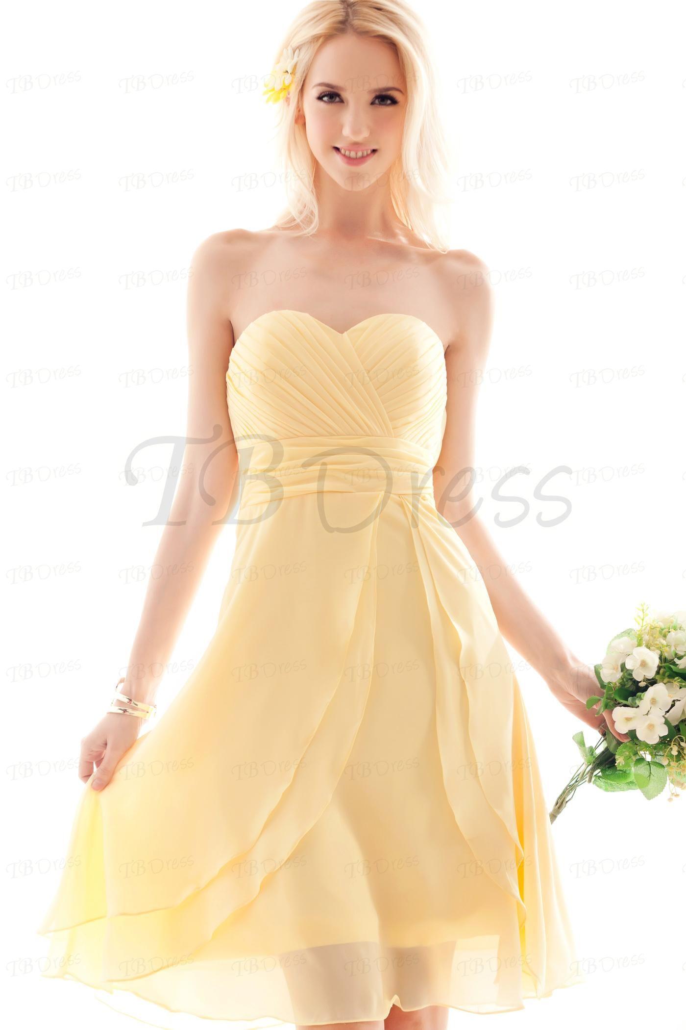 A Line Sweetheart Knee Length Pale Yellow Chiffon Pleated