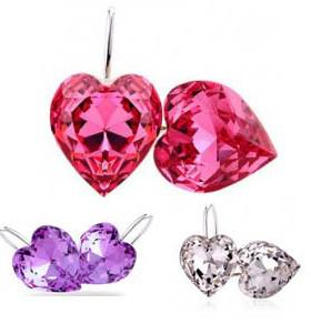 best selling Free Shipping Crystal Heart Earrings Fashion 2013 Free Shipping (6 Colours)