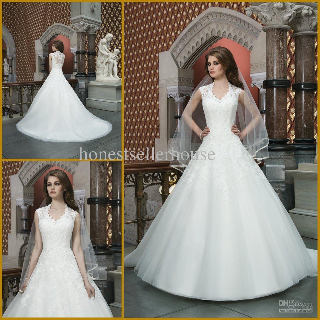 2014 Fashion Custom Made Cheap Queen Anne Neckline Sleeveless ...