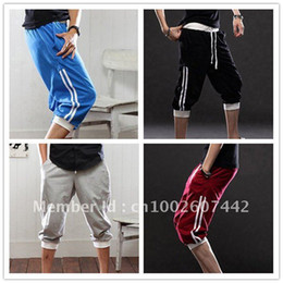 Wholesale Men S Harem Pants Baggy - NEW Men's Korean Fashion Hot Casual Sporty Athletic Pirate Capri Baggy Harem Shorts Short Pants Sport Pants Free Shipping