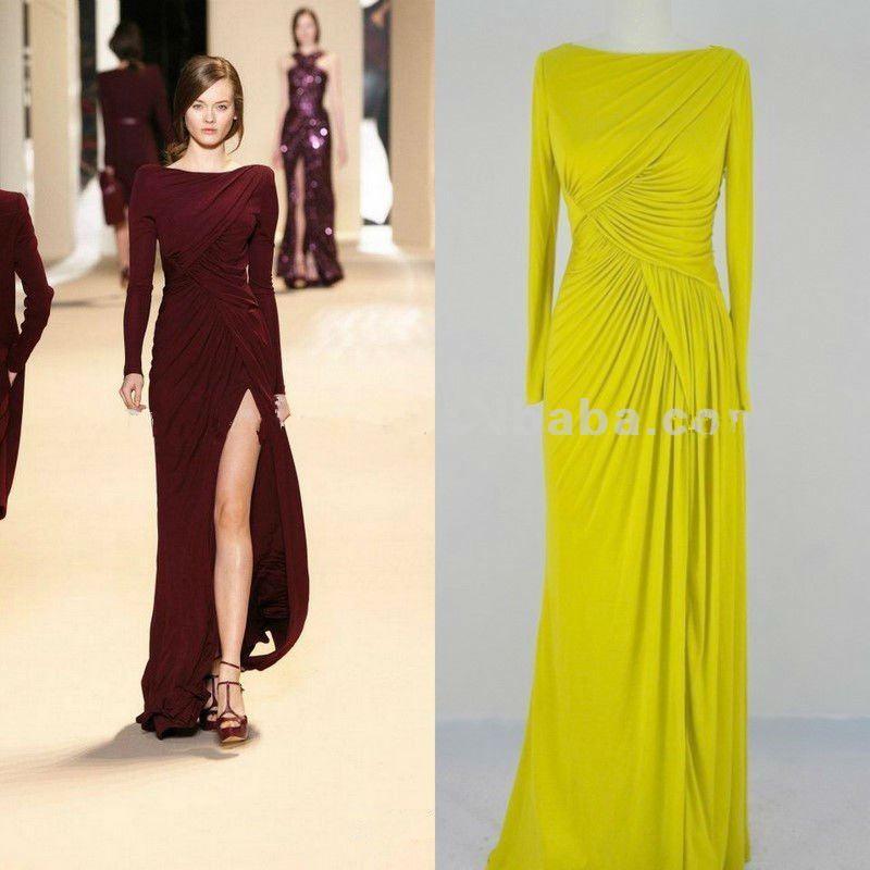 Elie Saabドレス送料無料ブルゴーニュのイブニングドレス長袖パーティーガウンスクエアサイドスリットシフォンシンプルな花嫁介添人ガウン2018