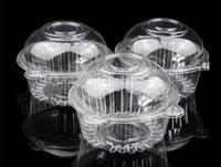 duche de plástico venda por atacado-Frete grátis por atacado 100 pcs claro plástico bolo de cupcake bolo de casamento bolo muffin dome caixas titulares