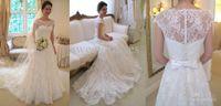 Wholesale Discount Bridal Gown Sashes - Big Discount 2014 Vintage Lace A-Line Wedding Dresses Bateau Short Sleeve Bridal Dresses Beach Bridal Gowns High Quality Court Train TK254