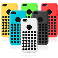 Wholesale Iphone 5c Dots - Silicone Round Dots Soft Case For iphone 5C official design Rubber Back Cover 6 colorful Cell Phone Case Free Shipping