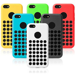 Wholesale Designed Cases For Iphone 5c - Silicone Round Dots Soft Case For iphone 5C official design Rubber Back Cover 6 colorful Cell Phone Case Free Shipping