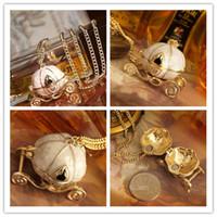 Wholesale Halloween Resin Pumpkins - Cinderella Magic Pumpkin Car Necklaces Sweater Chain Pendants Necklaces Jewelry Charm Women Necklaces 12pcs