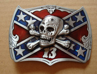 Wholesale 13 Flag - Rebel Flag with Lucky 13 Skull Belt Buckle SW-B719 free shipping