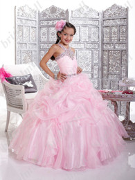 Wholesale Discounted Girls Ball Gown - 2015 Most Discount Flower Girls Dresses Princess pink ball gown beads kid girl Gowns toddler pageant dress little girl party dress AY004