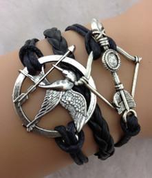 Bracelet flèche arc charmes en Ligne-20pcs / lot les jeux de la faim Charm Bracelet arc arrow Infinity Bracelet Bracelet tressé en cuir wrap bracelets bijoux de mode