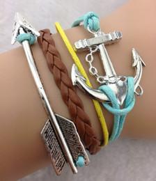 Wholesale Anchor Braid Bracelet - 20pcs lot arrow anchor Charm Bracelet Infinity Bracelet Braided Bracelet leather wrap bracelets fashion jewelry jewlery hy627