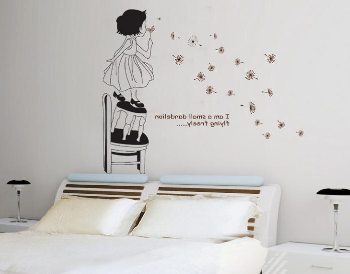 girl blowing dandelion cute wall stickers vinyl decal nursery decor