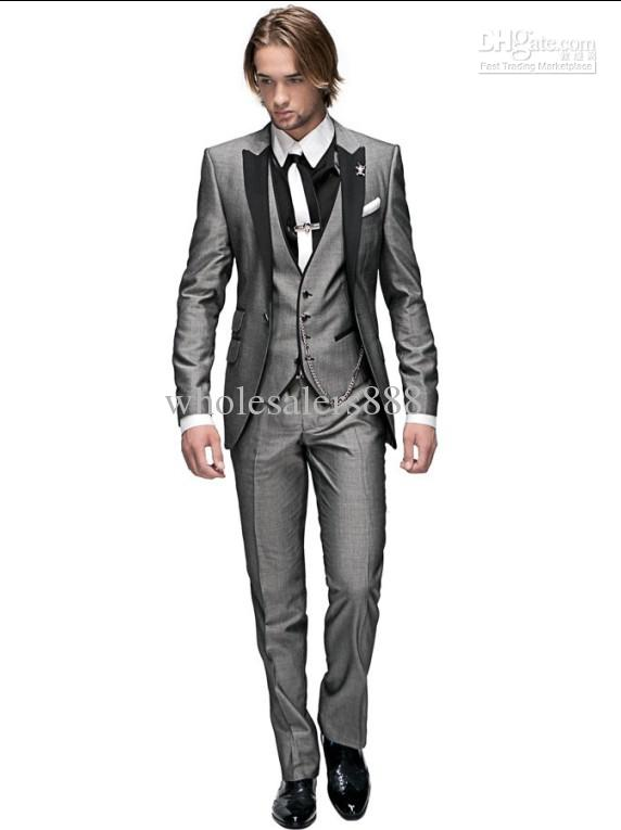 Custom Made Groom Tuxedos Light Grey Peak Black Lapel Best Man ...