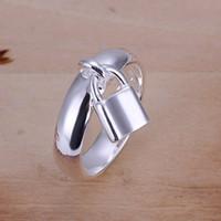 anillo de bloqueo 925 al por mayor-Venta caliente 10% de descuento en plata 925 Anillo de bloqueo colgante, Producto de nueva llegada, muy de moda y popular anillo de plata 925, DSSR-014