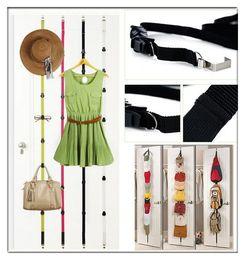 Wholesale Door Strap Organizer - 8 Hooks Adjustable Strap Hanger Hat Bag Clothes Rack Holder Organizer Over Door