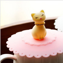 Wholesale Lovely Kitty Cat - Dia 10.5*4.5cm Lovely Kitty Cat Silicone Cup Cover Lid Disposable Drinking Cups Cap Party Favors 10pcs lot SH088