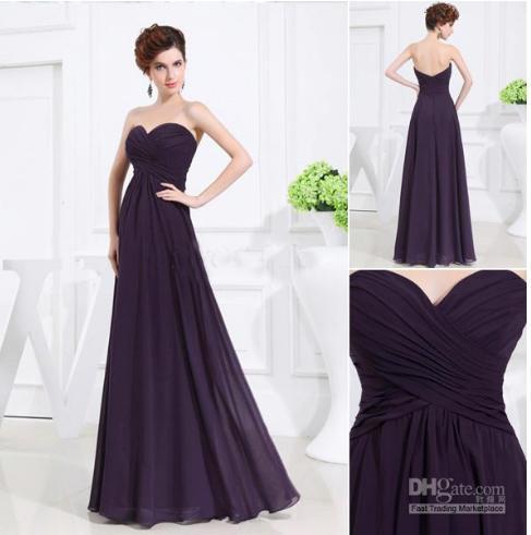Envío gratis nueva llegada Dark Purple cariño vestido sin tirantes A-line longitud del piso vestidos de dama de honor de alta calidad