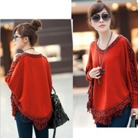 Wholesale korean orange sweater - Tassels V-Neck Sweaters Cloak korean style sweater Spring Autumn Women Clothing Wraps Loose Plus Size 5 colors ws10