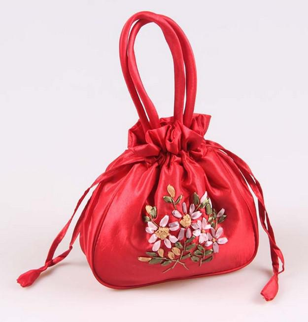 Wedding Favor Holders handmade Ribbon embroidery candy bags gift jewelry egg Satin silk bag handbag colorful