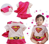 Wholesale Superman Baby Girl - Wholesale Baby Girl Boy Superman SUPERGIRL Romper Baby Dress Smock Baby Cloak Infant 8p l