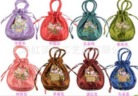 Wholesale Satin Red Gift Bags - Wedding Favor Holders handmade Ribbon embroidery candy bags gift jewelry egg Satin silk bag bride handbag colorful
