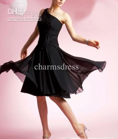 Freies Verschiffen neue Ankunft schwarze Chiffon- eine Schulter-Kleid A-lineknienlänge preiswerte Brautjunfer-Kleiderqualität