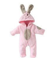 Wholesale Hooded Bear Jumpsuit - Wholesale baby romper lovely Animal design clothing kids pink bunny hoddies zipper bear paws jumpsuit toddlers villus autumn warm clothes