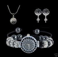 Wholesale Cheap Ceramic Watches Wholesale - Cheap jewelry set Shamballa Gradient Crystal Beads Ball Pendant Necklace&Spacer Beads Watch Bracelets&Earrings set