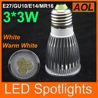 Wholesale Spots 12v - Hot Selling!!!!!CREE LED Spotlight GU10 E27 E14 MR16 12V 9W 3x3W High power Spot Light Bulb Spotlight spot lamp Downlight 750lm 110-240V