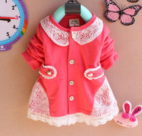 Wholesale Dress Pink Cardigan Flower - Free Shipping Korean Baby Girls T-shirt Dress Hollow Lace Flower Soft Cotton Cardigan Toddlers Clothing Kids Children's Dress Princess Dress