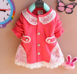 Wholesale Toddler Red Cardigan - Free Shipping Korean Baby Girls T-shirt Dress Hollow Lace Flower Soft Cotton Cardigan Toddlers Clothing Kids Children's Dress Princess Dress