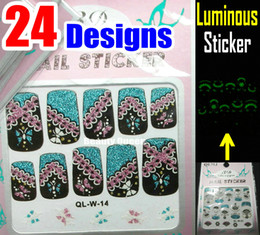 Wholesale Glitter Nail Tips Designs - * Luminous * 24 style Pretty Cure Sparkle 3D Nail Decal Korea Acrylic Lace Designs Full French Glitter Nail Art Sticker Tips Tip Decoration