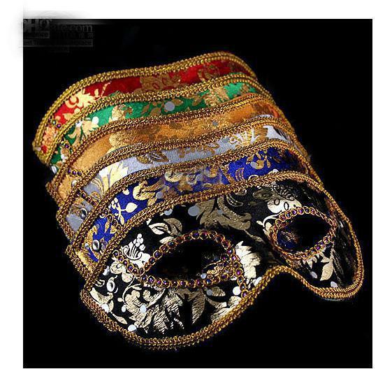 2013 nuevo media mascarilla máscara de Mascarada de Halloween masculina, Venecia, Italia, encaje de cabeza plana máscaras de tela brillante