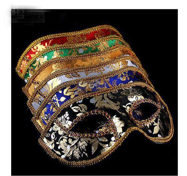 2013 new 20PCS Half Face Mask Halloween Masquerade mask male, Venice, Italy, flathead lace bright cloth masks