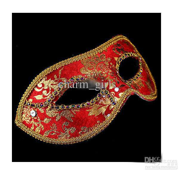 2013 yeni 20 ADET Yarım Yüz Maskesi Cadılar Bayramı Masquerade maske erkek, Venedik, İtalya, flathead dantel parlak bez maskeleri