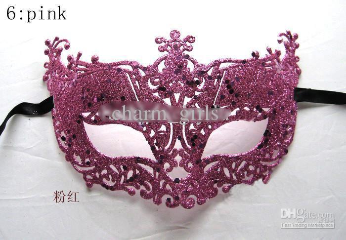 2013新しい混合6彩色グリーターハロウィーンマスクのための祭りクリスマスイースターの結婚式の誕生日マスク12個/ロト