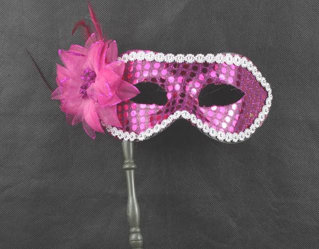 Freies Verschiffen ähnliche Feder-Maskerade-Maske auf einem Stock-Hochzeits-Party-Maske Schwarz-Blau mehr Farbe-Wahl
