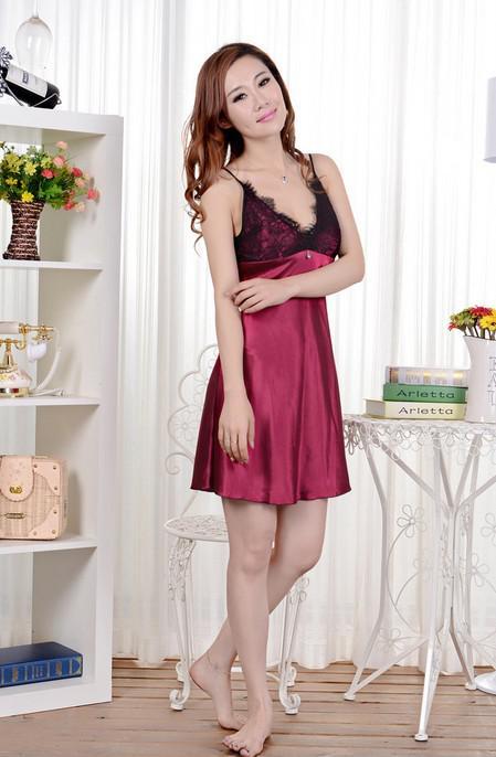 Las mujeres atractivas de la moda del cordón de seda ropa de noche ropa interior camisón noche falda vestidos rojo regalo de Navidad envío de la gota