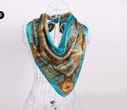 Wholesale Towel Gift Wrapping - Fashion women girl silk scarves wraps kerchief hand towel 90X90cm colorful jewelry scarf Shawls Hijabs Bandanas Sarongs Christmas gift