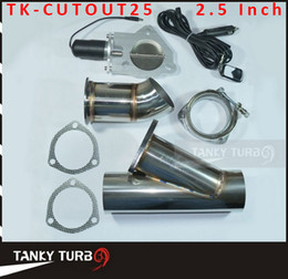 Wholesale Exhaust Cutouts - Tansky - 2.5 INCH EXHAUST CUTOUT ELECTRIC DUMP Y-PIPE CATBACK CAT BACK TURBO BYPASS STEEL TK-CUTOUT25 High Quality